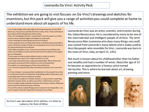 Activity Pack on Leonardo Da Vinci