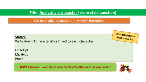 Chapter 8. Mr. Utterson - exam style question (new GCSE - AQA)