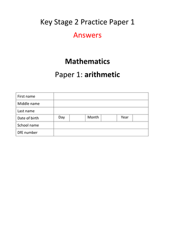 New Key Stage 2 (Year 6) Mathematics Arithmetic Practice Paper version 1 with answers