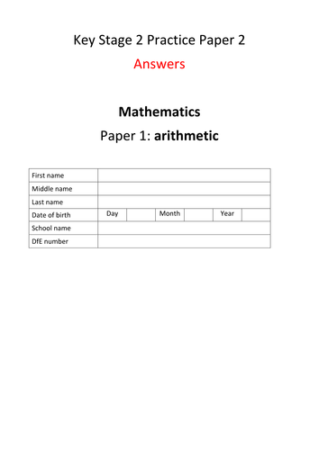 New Key Stage 2 (Year 6) Mathematics Arithmetic Practice Paper version 2 with answers