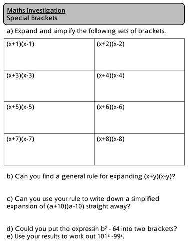Maths Investigation - Expanding Double Brackets - Special Brackets