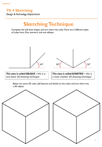 Sketching Worksheets Design Technology