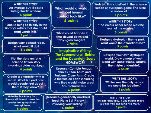 Science Fiction and Dystopia Homework Menu Writing Prompts and ResearchTasks
