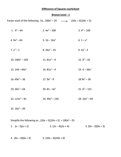 Difference Of Squares Worksheets By Bascah Teaching Resources Tes
