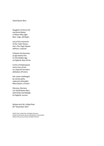 poem about Queen Elizabeth I