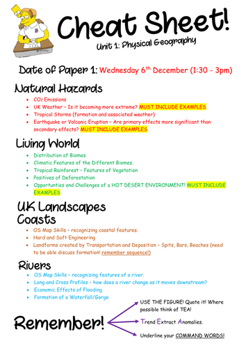 NEW 9-1 AQA Geography 'Cheat Sheets' for Specimen Papers 1&2