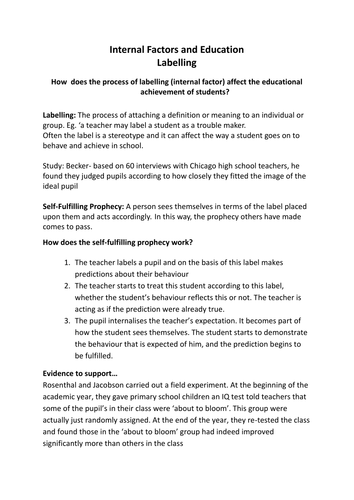 AQA A Level Sociology Education and Class Achievement - Labelling Lesson Four