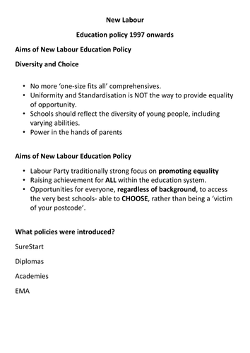 AQA A Level Sociology Education and Social Policies Lesson Sixteen