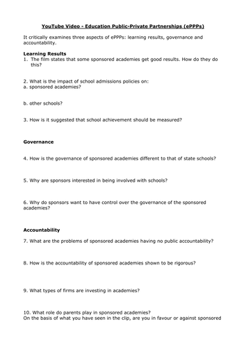 AQA A Level Sociology Education and Privatisation Lesson Eighteen