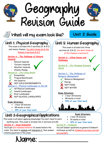 NEW 9-1 AQA Geography Revision Guide - Unit 2