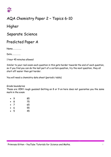 Sample Exam Papers. C2 (topics 6-10) AQA Chemistry (combined and separate) 9-1 spec. Higher inc Ans