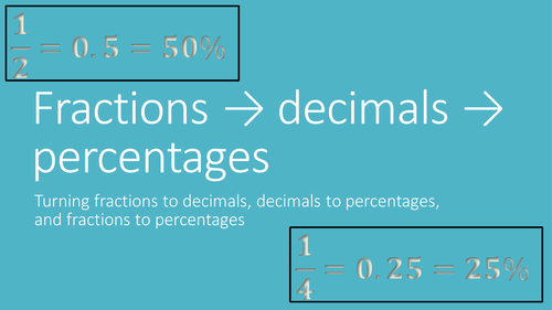Fractions to decimals to percentages - how to go from one to another