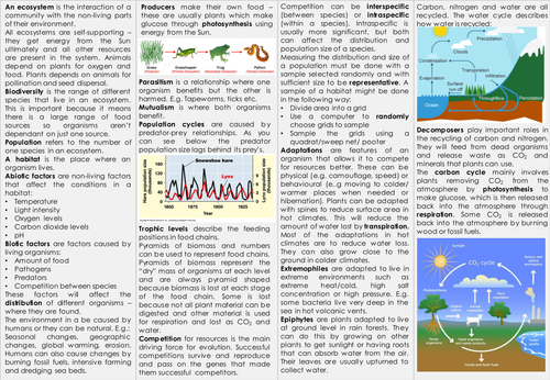 Ecology Knowledge Organiser - AQA GCSE Biology (Triple) - Revision