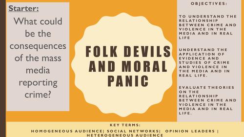 AQA A2 Sociology- Mass Media: Folk Devils and Moral Panic