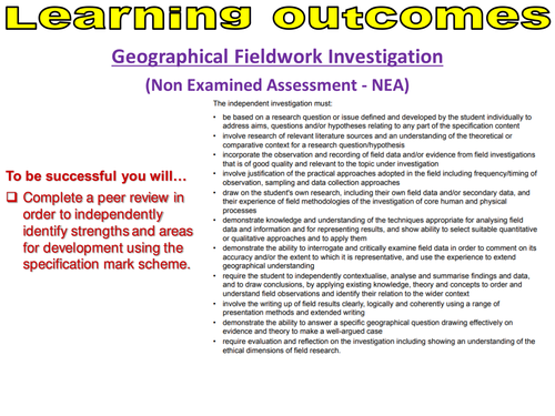 Geographical Fieldwork Investigation: Self assessment for the NEA