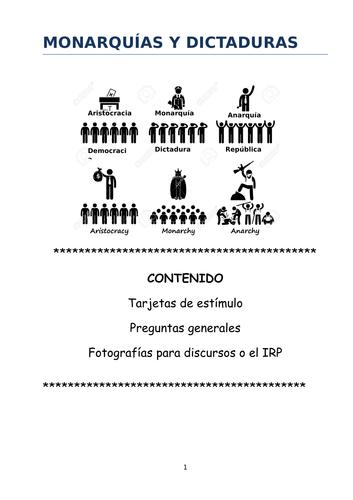 Speaking cards, general questions and photos Monarquías y dictaduras (New AL2)