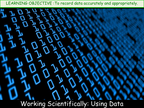 Working Scientifically: Using data in tables