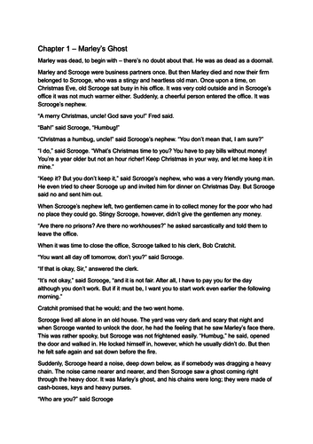 A Christmas Carol Comprehension - Abridged Text Included - GPS Included - Year 6