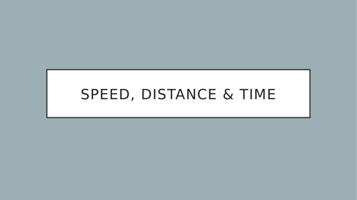 Speed, distance, time - Using the formula to calculate, explains the units.