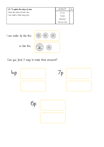 Early Years Money Worksheets: EYFS Maths Resources ǀ Tes