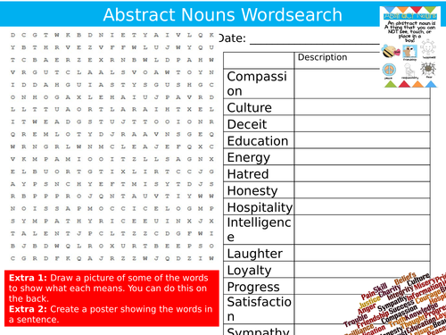 Abstract Nouns Wordsearch English Language Starter Settler Activity  Homework Cover Lesson