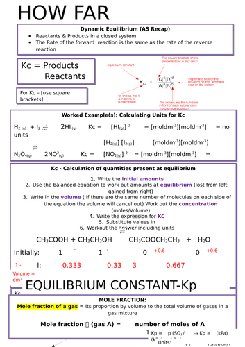 A-Level OCR Chemistry: Equilibrium/How Far? (A2)