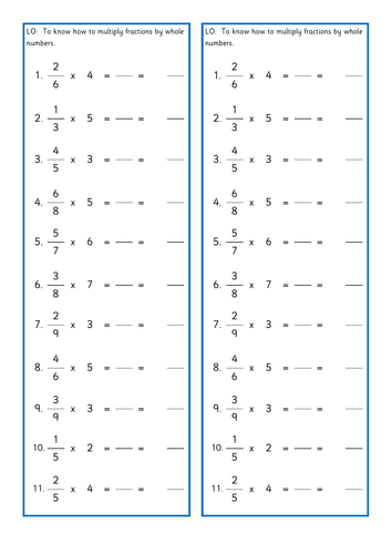Multiplying fractions by whole numbers differentiated skills tasks
