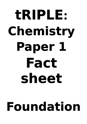 AQA Chemistry ONLY Paper 1 Fact Booklet FOUNDATION
