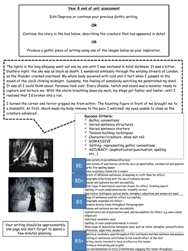 Gothic & Science Fiction Writing Assessment tasks with success criteria