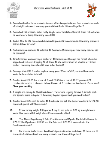Christmas Maths Word Problems - differentiated 4 ways with answers