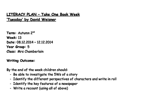 """""""Tuesday"""" by David Weisner Newspaper Writing (set of 4 lessons)"""