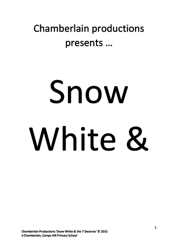 """Snow White"" Pantomime Script"
