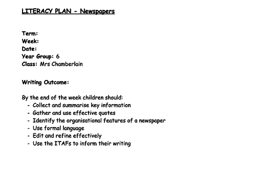 Year 6 Newspapers Unit of Work (5 lesson plans - 4 way differentiation)