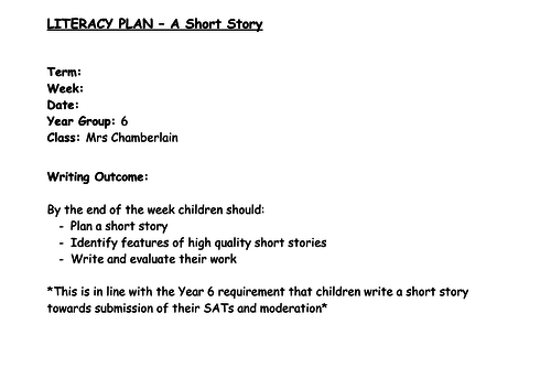 year 6 short story writing unit of work 2 lessons 4 way