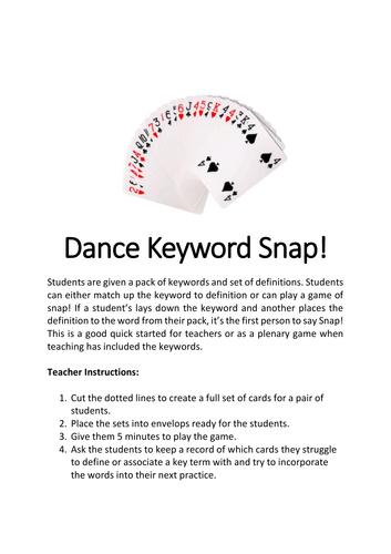 AQA GCSE Dance - Keywords Snap Game