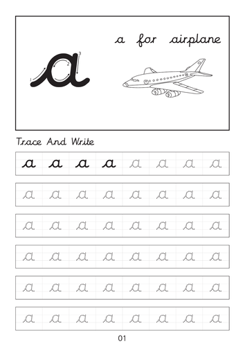 Set of cursive small letters a to z dot to dot worksheets sheets with pictures