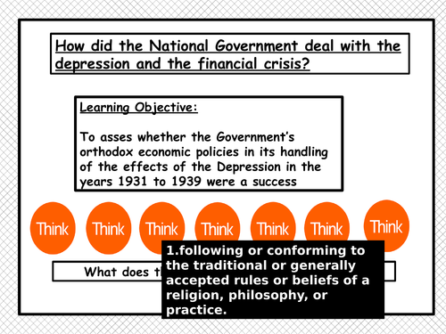 How did the National Government deal with the Depression?