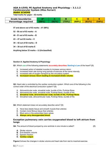 AQA A-Level PE Cardiovascular System question paper, mark scheme &  diagnostic FB sheet to improve
