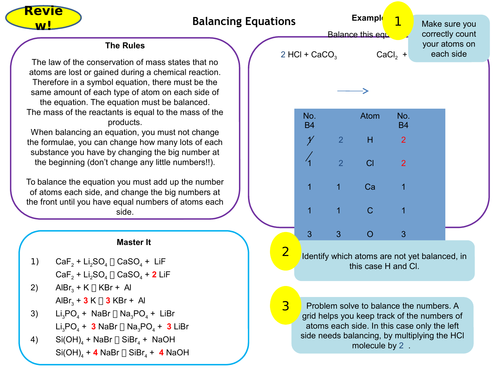 Balancing Equations Active Revision Card Activity Versatile for GCSE and KS3