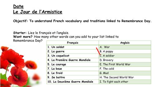 Le Jour de l'Armistice - Remembrance Day - French Vocabulary and Cultural Lesson - KS3 + KS4