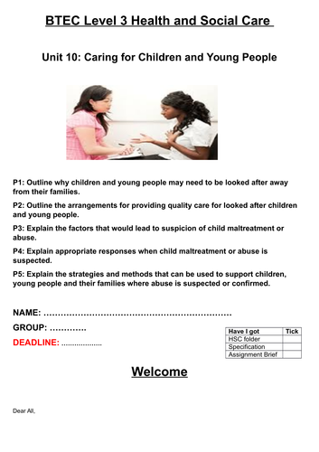 Unit 10 - Caring for Children and Young People Coursework