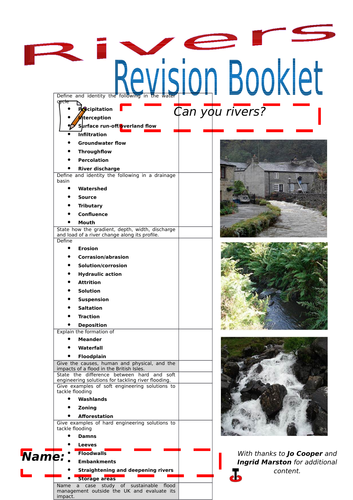 Rivers revision booklet.