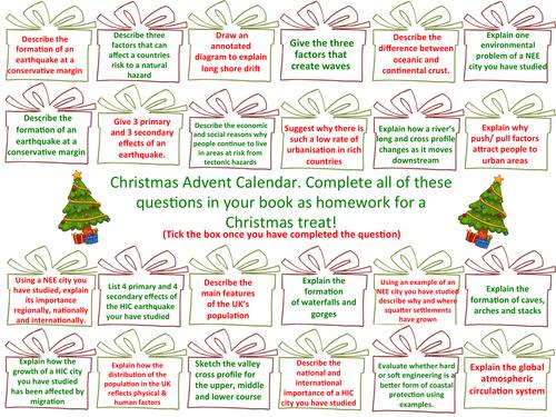 AQA GCSE geography 9-1 revision advent calendar