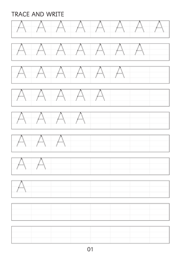 Set of simple capital letters A to Z dot to dot worksheets sheets
