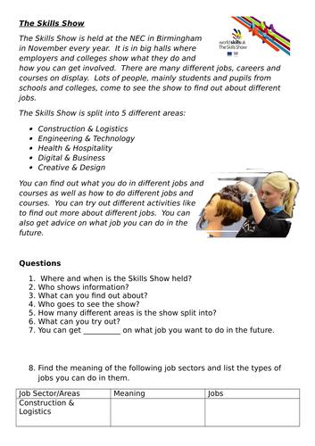 Skills Show Reading Comprehension and Job Vocabulary Activity -ESOL/EAL/ESL/EFL/Literacy/SLD/ALD