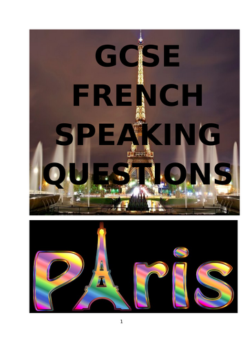 GCSE PREPARATION FOR FRENCH SPEAKING EXAM