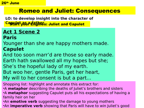 Act 3 Scene 5 Romeo and Juliet - linked to Act 1 scene 2