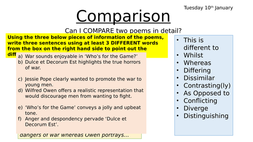 Dulce et Decorum Est and Who's for the Game Poetry Comparison