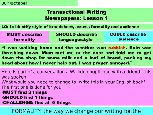KS3 Opinion in Newspapers