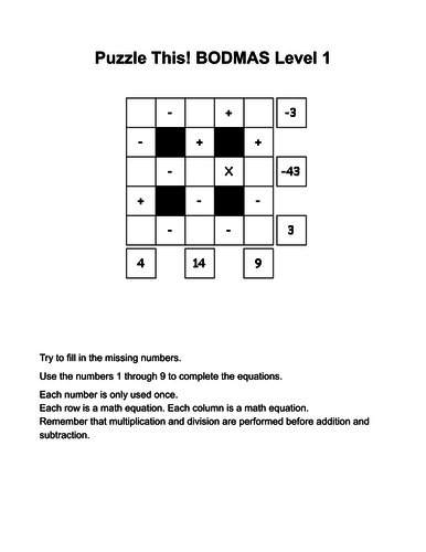 BODMAS Puzzles for more able pupils/Year 6 - with answers